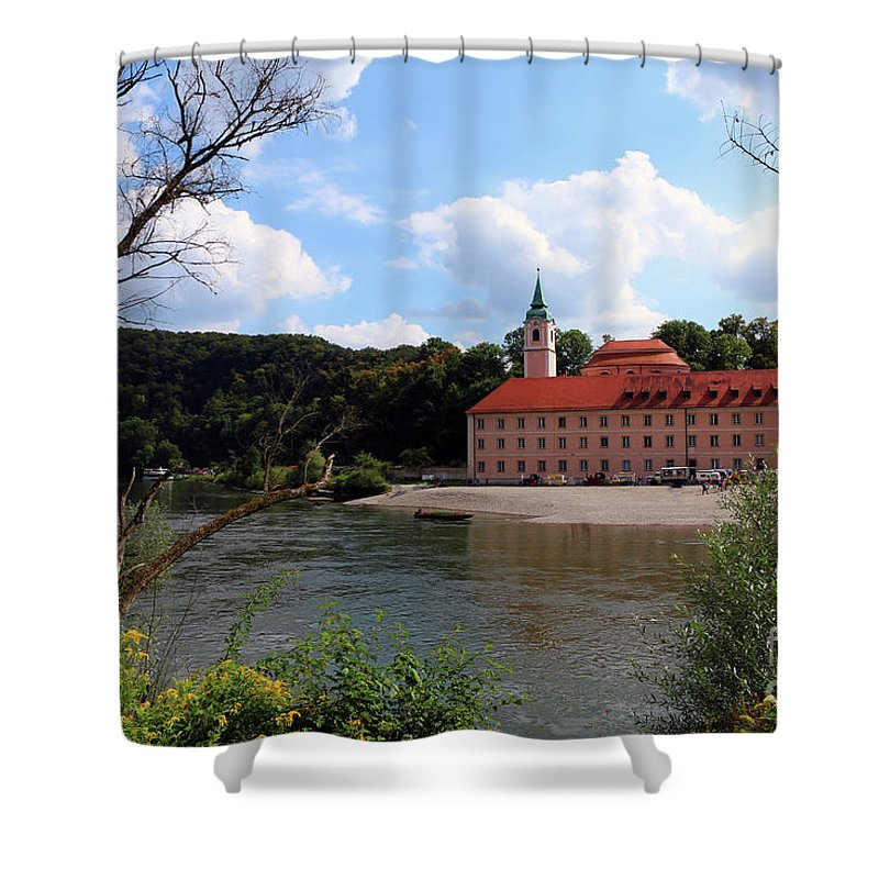 Abbey Shower Curtain featuring the photograph Abbey Weltenburg And Danube River by Christiane Schulze Art And Photography