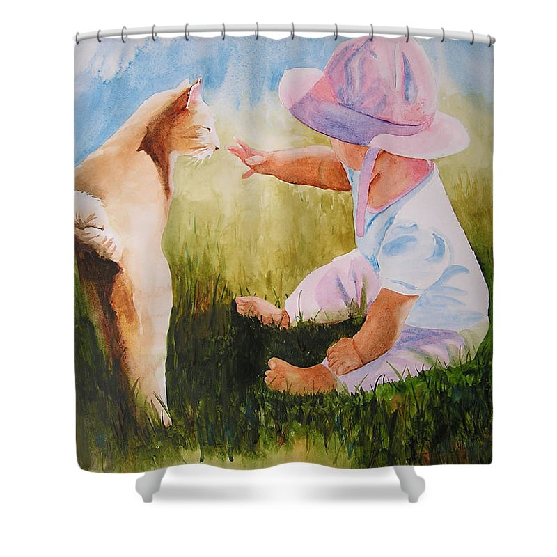 Baby Shower Curtain featuring the painting Abbie's Kitty by Karen Stark