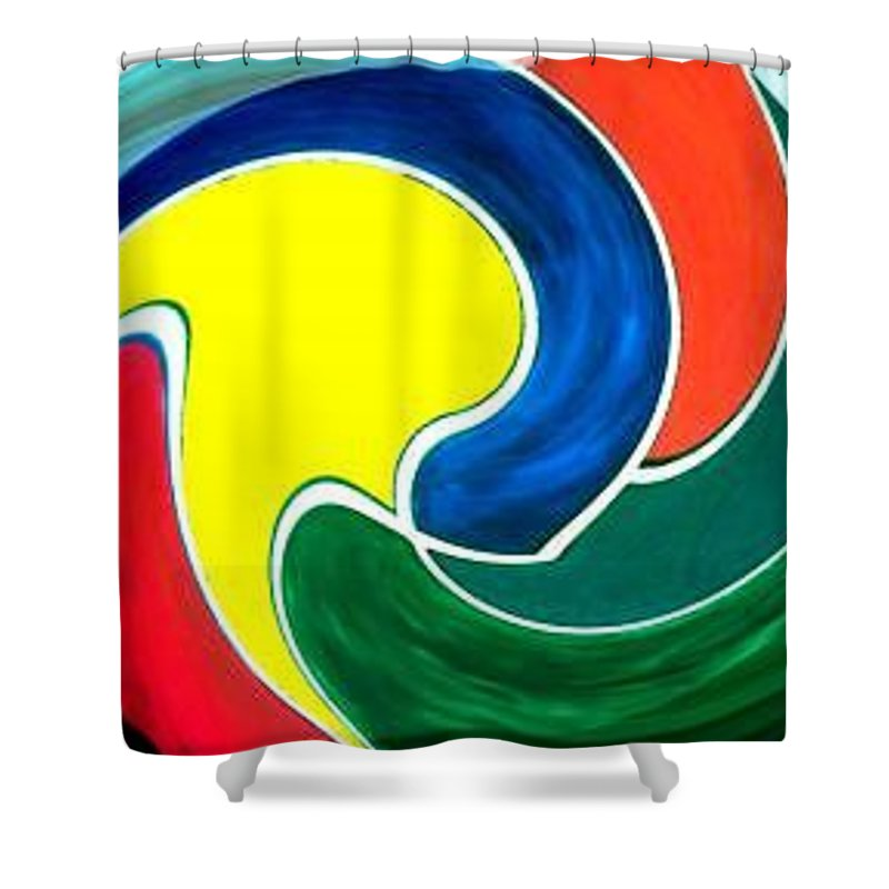 Digitalized Shower Curtain featuring the digital art Abbs by Andrew Johnson