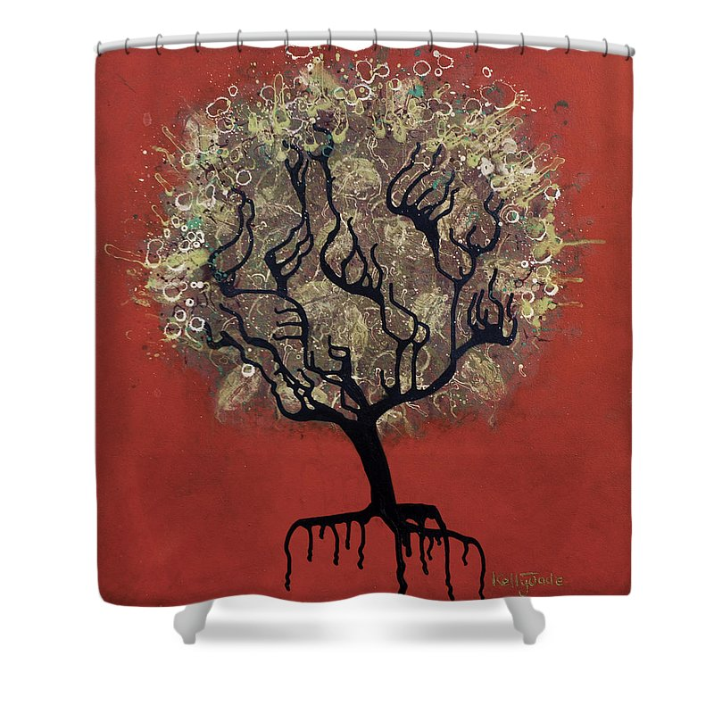 Tree Shower Curtain featuring the painting Abc Tree by Kelly Jade King