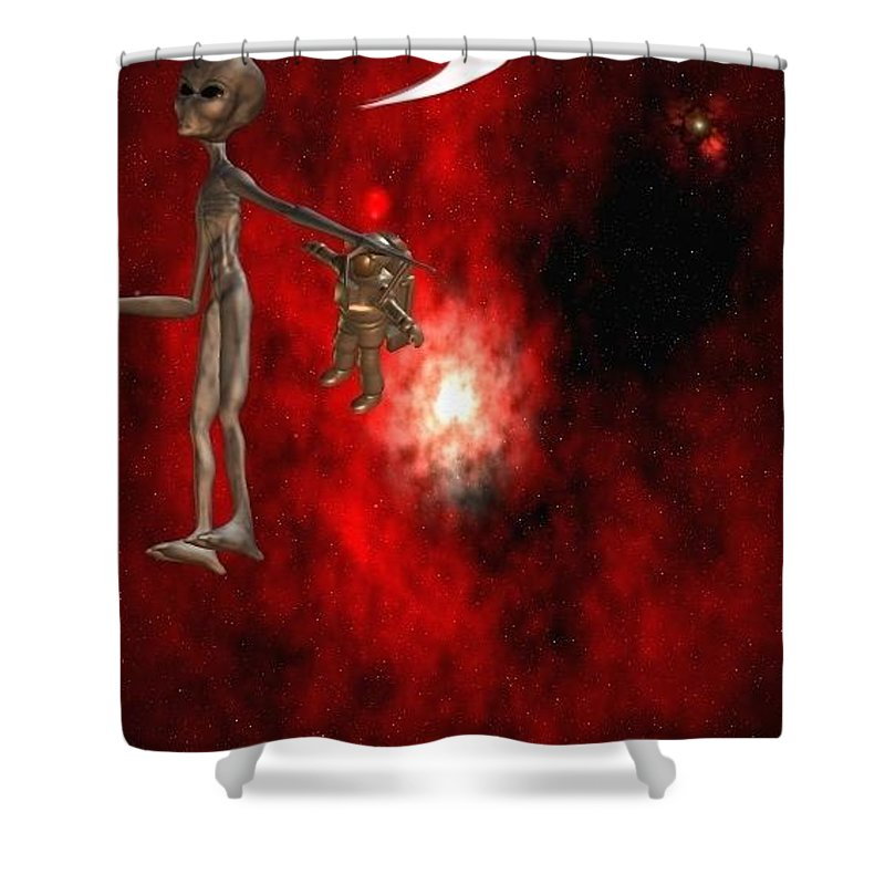 Artrage Artrageus Comics Cartoon Space Aliens Astronaut Shower Curtain featuring the digital art Abducted by Robert aka Bobby Ray Howle