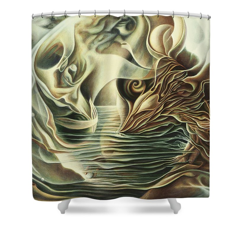Spiritual Shower Curtain featuring the painting Abiding In by Nad Wolinska