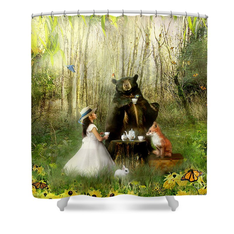 Abigails Friends Shower Curtain featuring the mixed media Abigails Friends by Carrie Jackson
