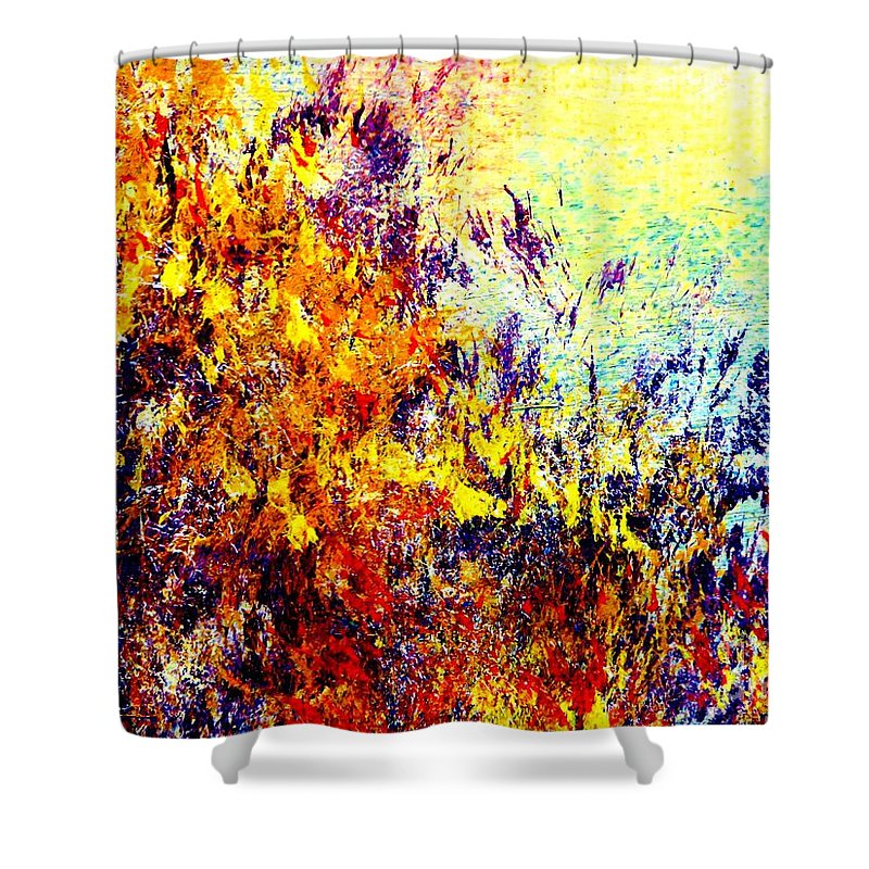 Ablaze Shower Curtain featuring the painting Ablaze by Tim Townsend