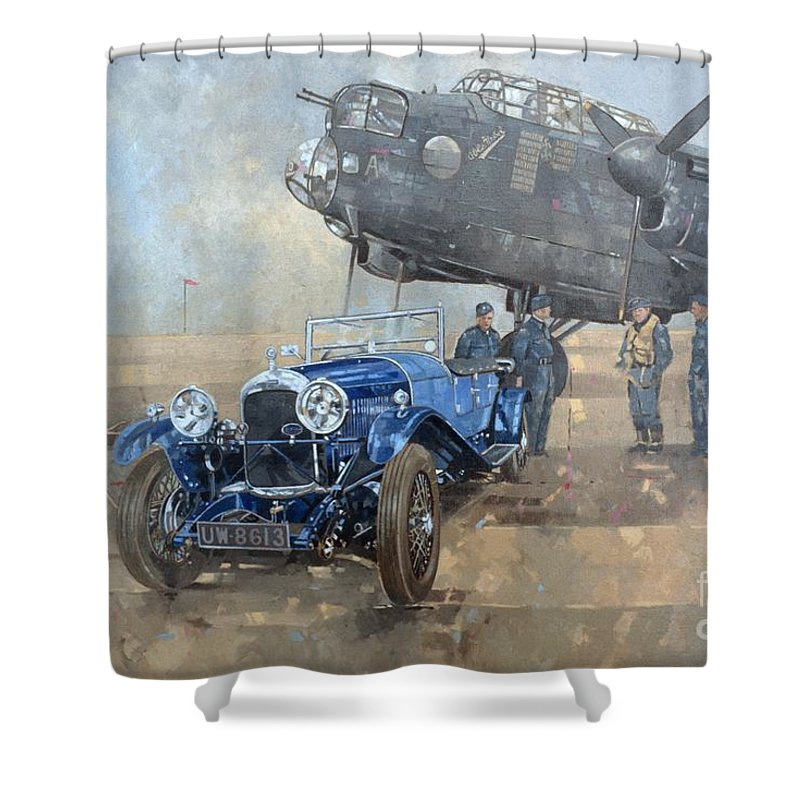 Car; Vehicle; Airplane; Aeroplane; Plane; Military; Air Force; Vintage; Classic Cars; Vintage Car; Nostalgia; Nostalgic; Blue Lagonda Shower Curtain featuring the painting Able Mable And The Blue Lagonda by Peter Miller