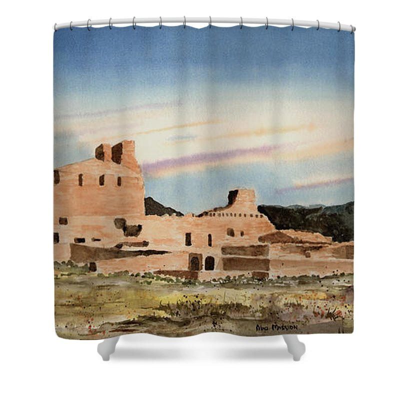 Mission Shower Curtain featuring the painting Abo Mission by Sam Sidders