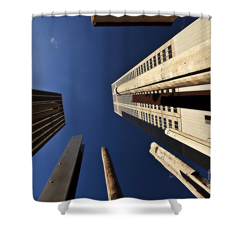 Australian Aboriginal Sound Poles Skyscrapers City Shower Curtain featuring the photograph Aboriginal Sound Poles by Sheila Smart Fine Art Photography