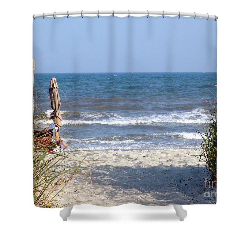 Beach Shower Curtain featuring the photograph About Time by Lj Lambert