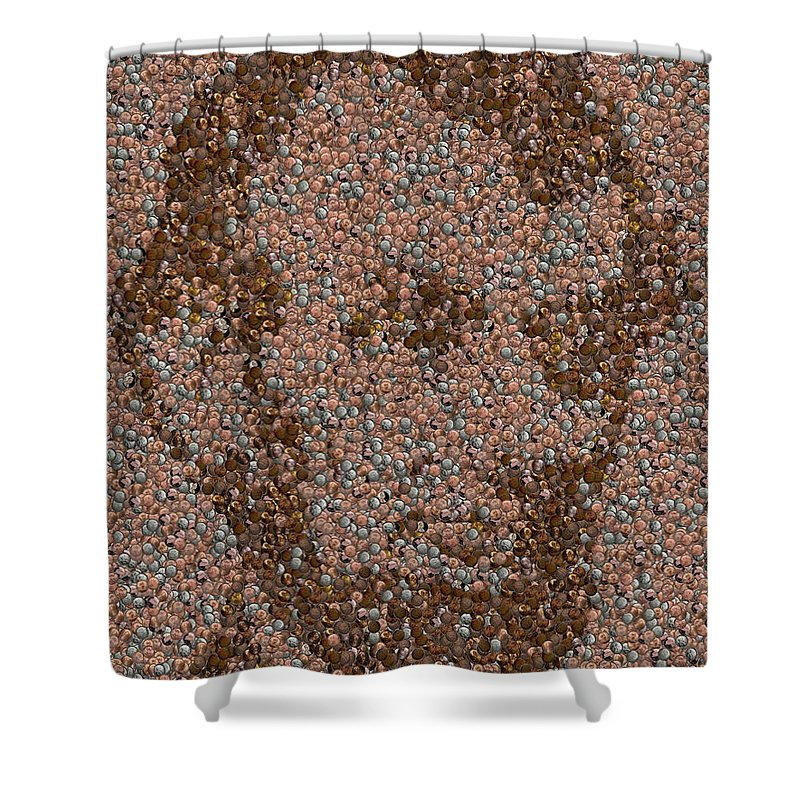 Abe Shower Curtain featuring the mixed media Abraham Lincoln Penny Mosaic by Paul Van Scott