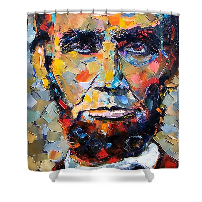 President Shower Curtain featuring the painting Abraham Lincoln portrait by Debra Hurd