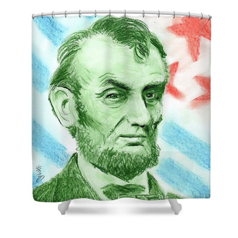 Abraham Lincoln Shower Curtain featuring the drawing Abraham Lincoln by Yoshiko Mishina