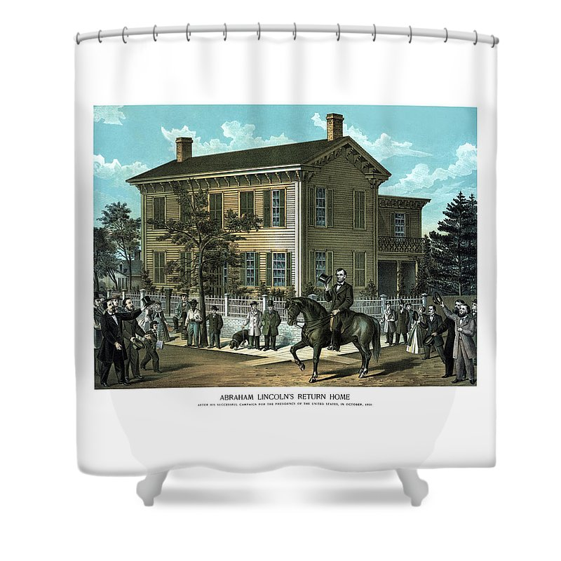 Abraham Lincoln Shower Curtain featuring the painting Abraham Lincoln's Return Home by War Is Hell Store