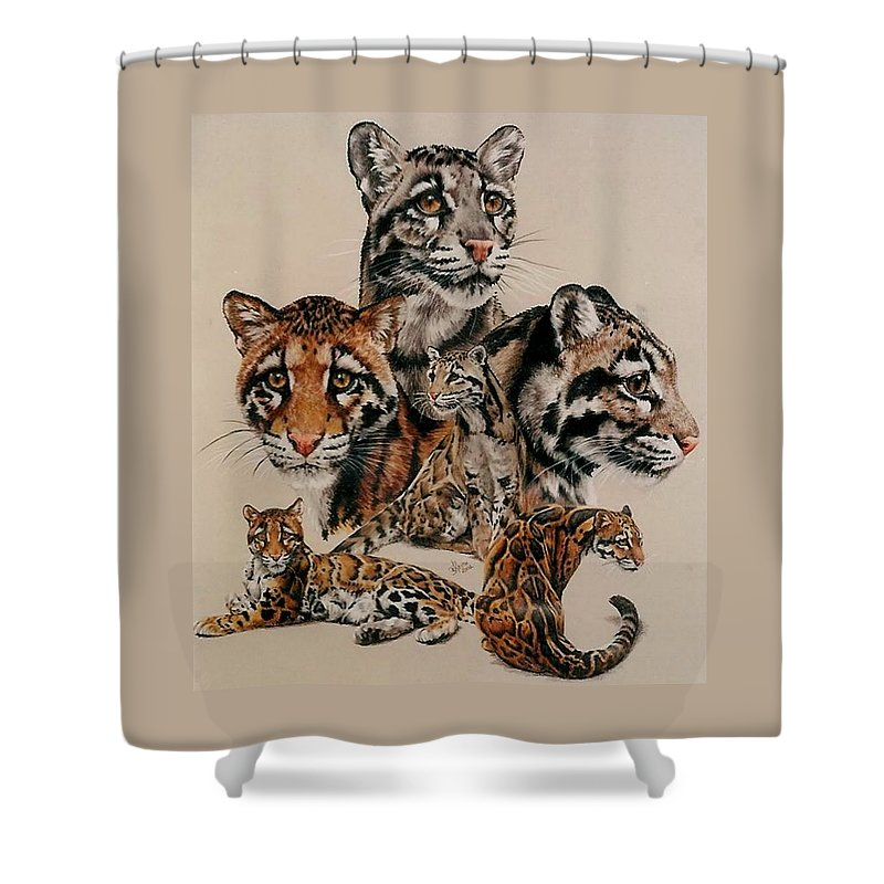 Clouded Leopard Shower Curtain featuring the drawing Absence of Fear by Barbara Keith