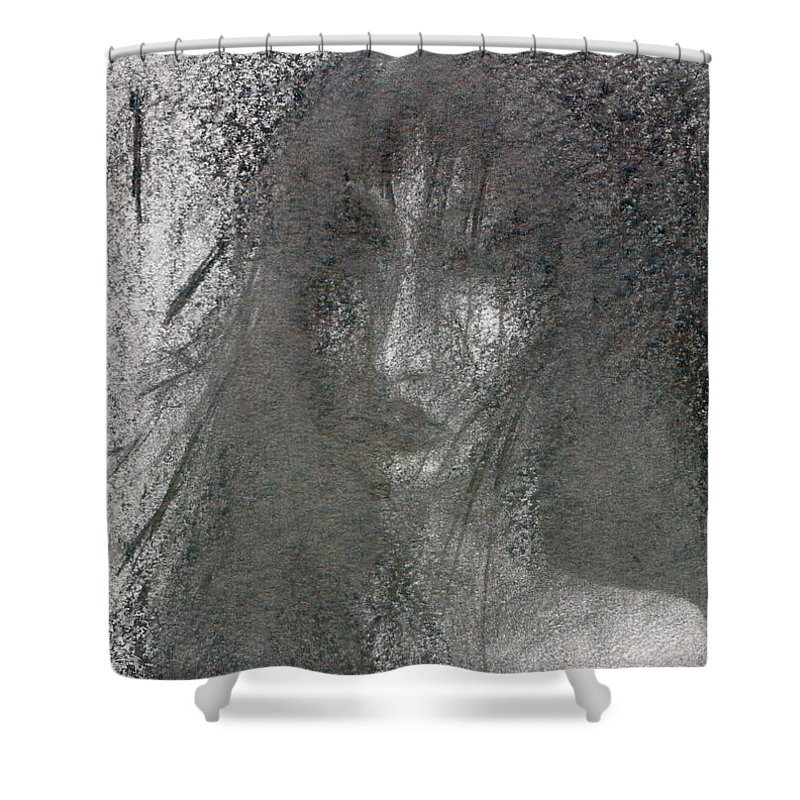 Psychedelic Shower Curtain featuring the drawing Absence by Wojtek Kowalski