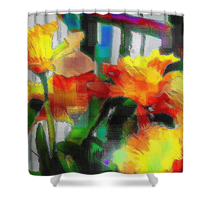 Absinthe Shower Curtain featuring the painting Absinthe Daffies by RC DeWinter