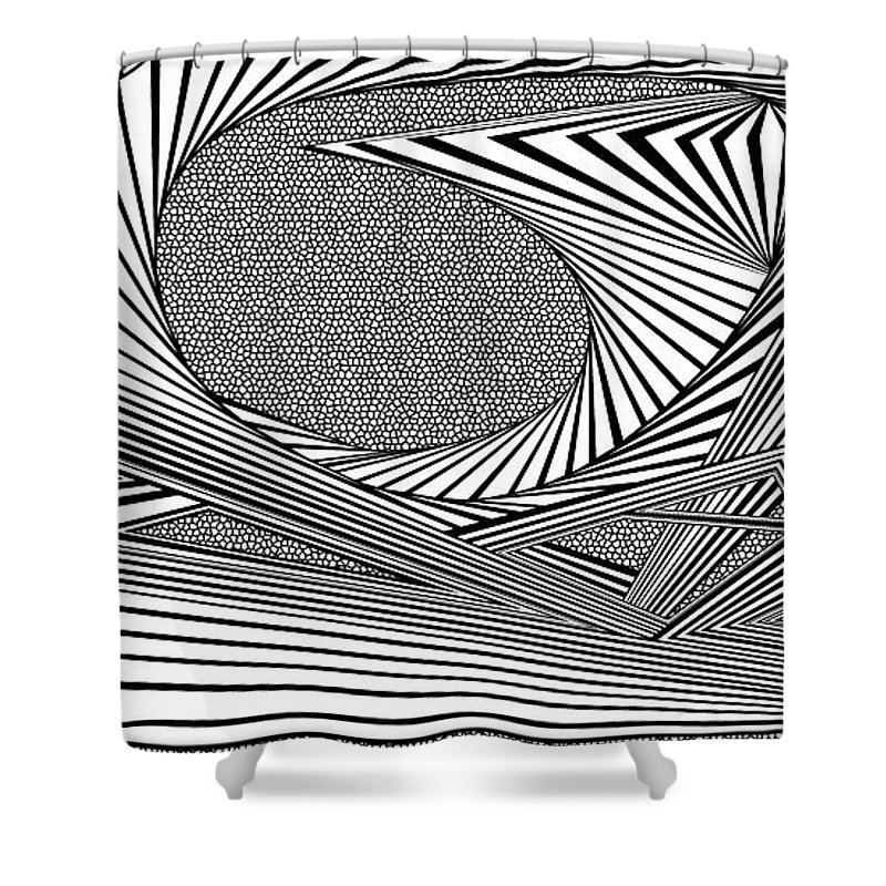 Dynamic Black And White Shower Curtain featuring the painting Absolution by Douglas Christian Larsen