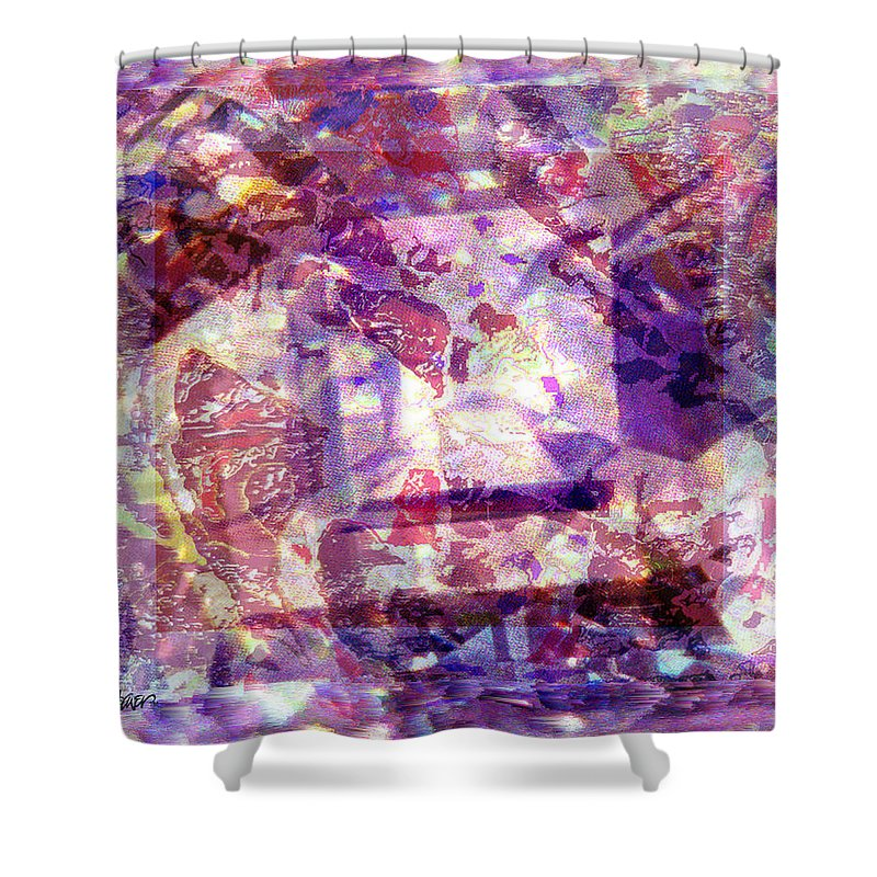 Abstract Shower Curtain featuring the digital art Abstacked by Seth Weaver