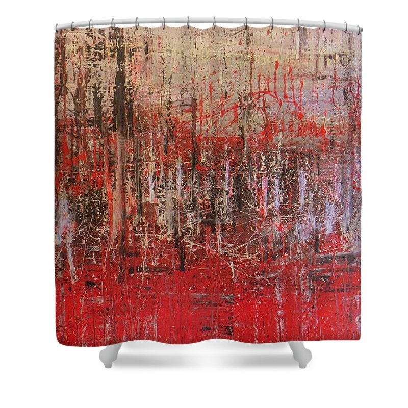 Abstrac Art Shower Curtain featuring the painting Tribute by Lalo Gutierrez