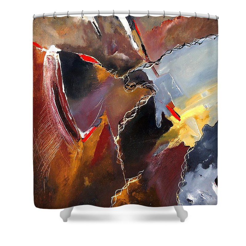 Abstract Shower Curtain featuring the painting Abstract 020606 by Pol Ledent
