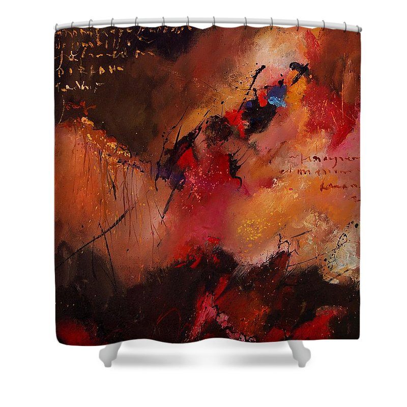 Abstract Shower Curtain featuring the painting Abstract 0408 by Pol Ledent