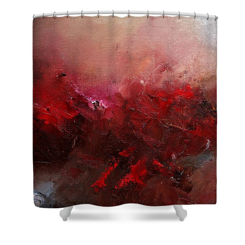 Abstract Shower Curtain featuring the painting Abstract 056 by Pol Ledent