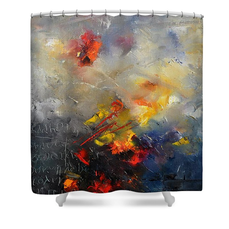 Abstract Shower Curtain featuring the painting Abstract 0805 by Pol Ledent