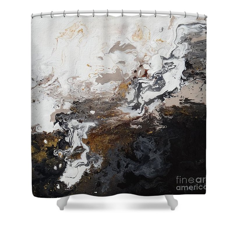 Abstract. Black Shower Curtain featuring the painting Abstract #1 by Pat Fort