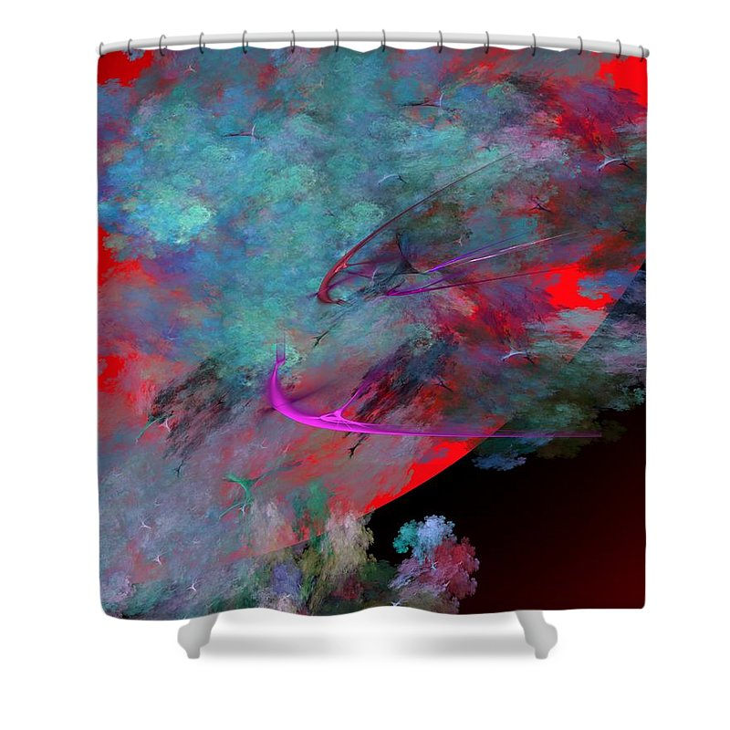 Fine Art Digital Art Shower Curtain featuring the digital art Abstract 102210 by David Lane