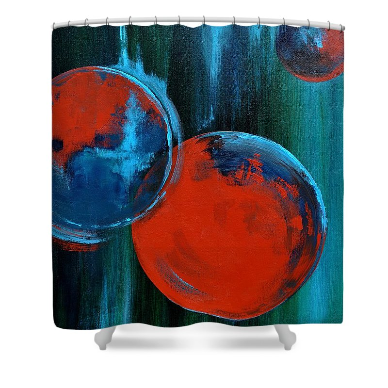 Abstract Shower Curtain featuring the painting Abstract 16 by Veronique Radelet