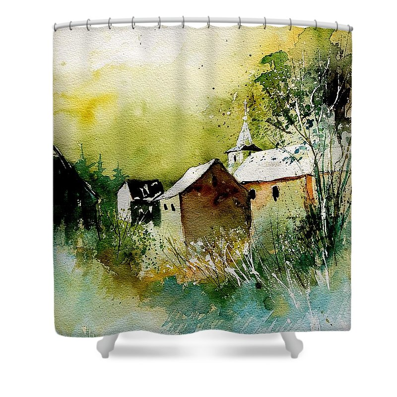 Village Shower Curtain featuring the painting Abstract 260608 by Pol Ledent
