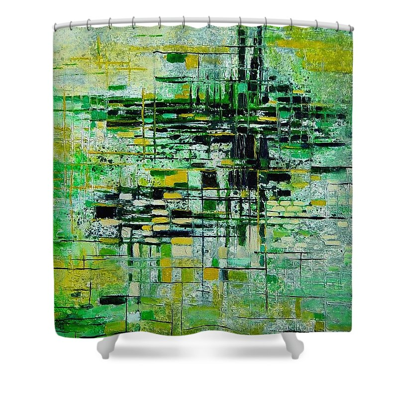 Abstract Shower Curtain featuring the painting Abstract 5 by Pol Ledent