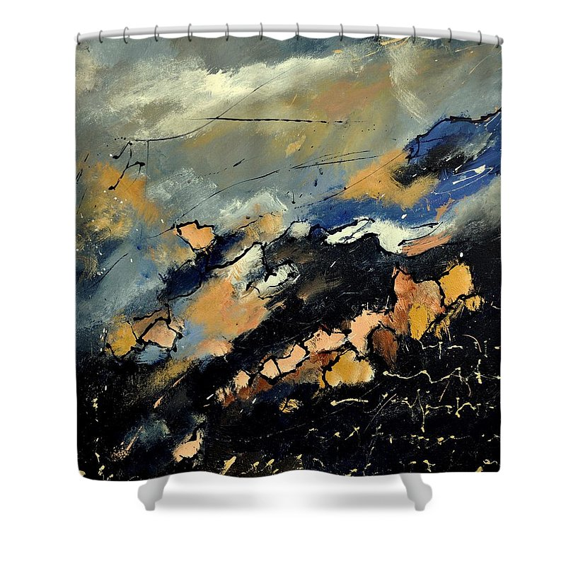 Abstract Shower Curtain featuring the painting Abstract 6601112 by Pol Ledent