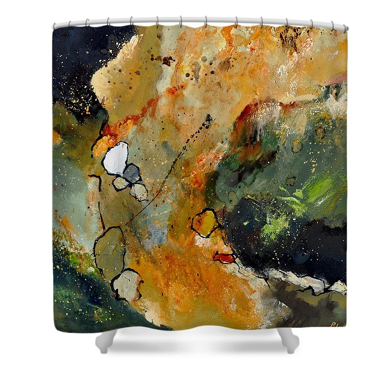 Abstract Shower Curtain featuring the painting Abstract 66018012 by Pol Ledent