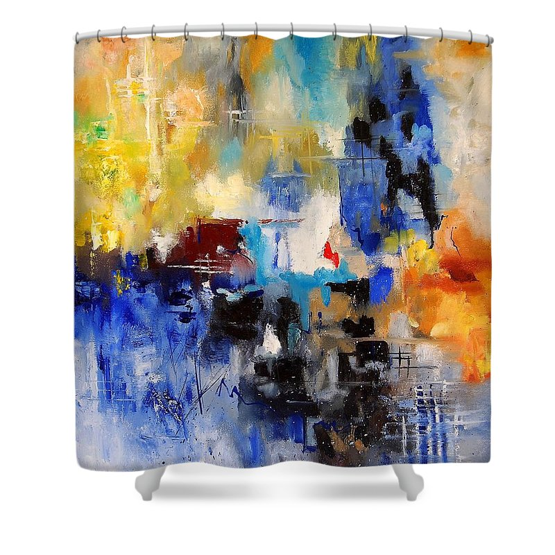 Abstract Shower Curtain featuring the painting Abstract 6791070 by Pol Ledent