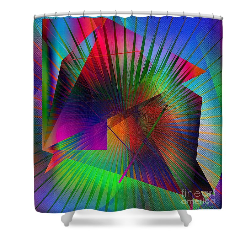Abstract Shower Curtain featuring the digital art Abstract 7690 by Iris Gelbart