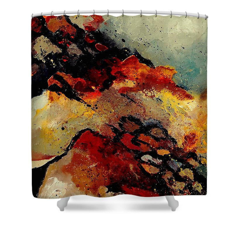 Abstract Shower Curtain featuring the painting Abstract 780707 by Pol Ledent