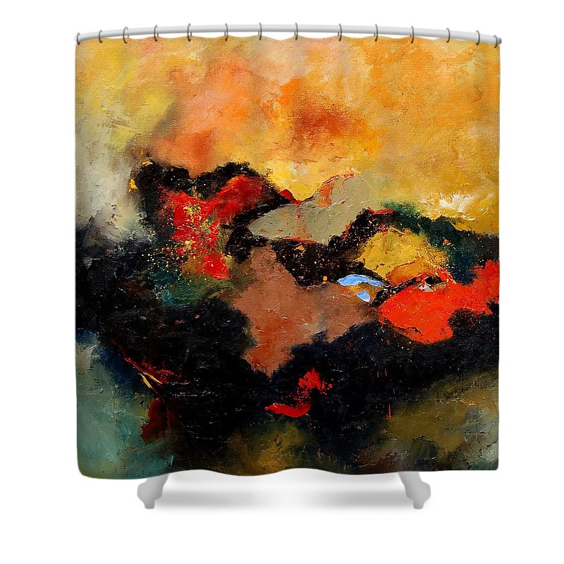 Abstract Shower Curtain featuring the painting Abstract 8080 by Pol Ledent