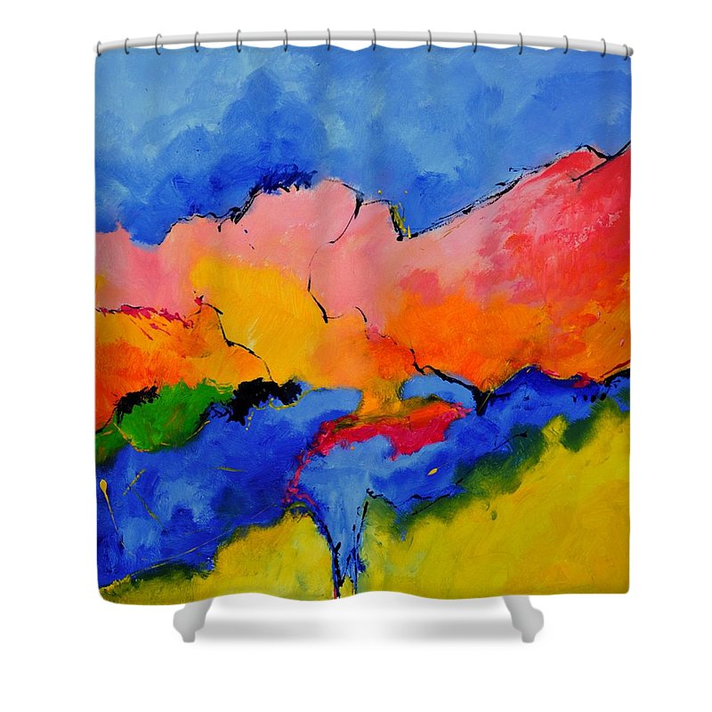 Abstract Shower Curtain featuring the painting Abstract 88112060 by Pol Ledent