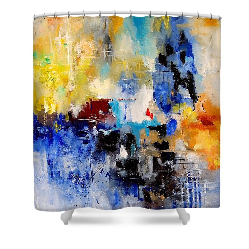 Abstract Shower Curtain featuring the painting Abstract 905003 by Pol Ledent
