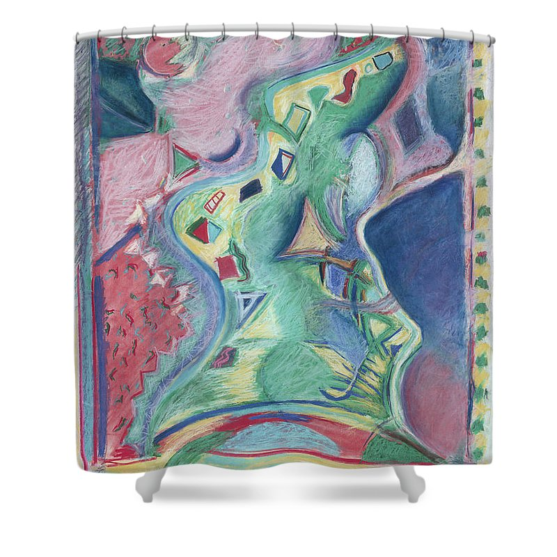 Abstract Shower Curtain featuring the painting Abstract 92 - Inner Landscape by Kerryn Madsen- Pietsch