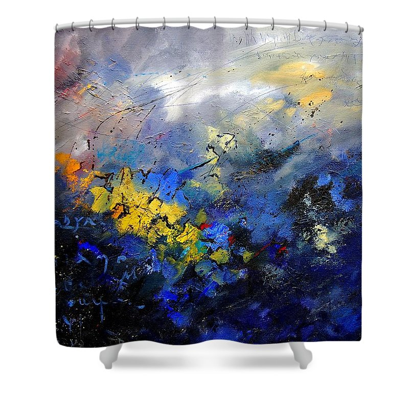 Abstract Shower Curtain featuring the painting Abstract 970208 by Pol Ledent