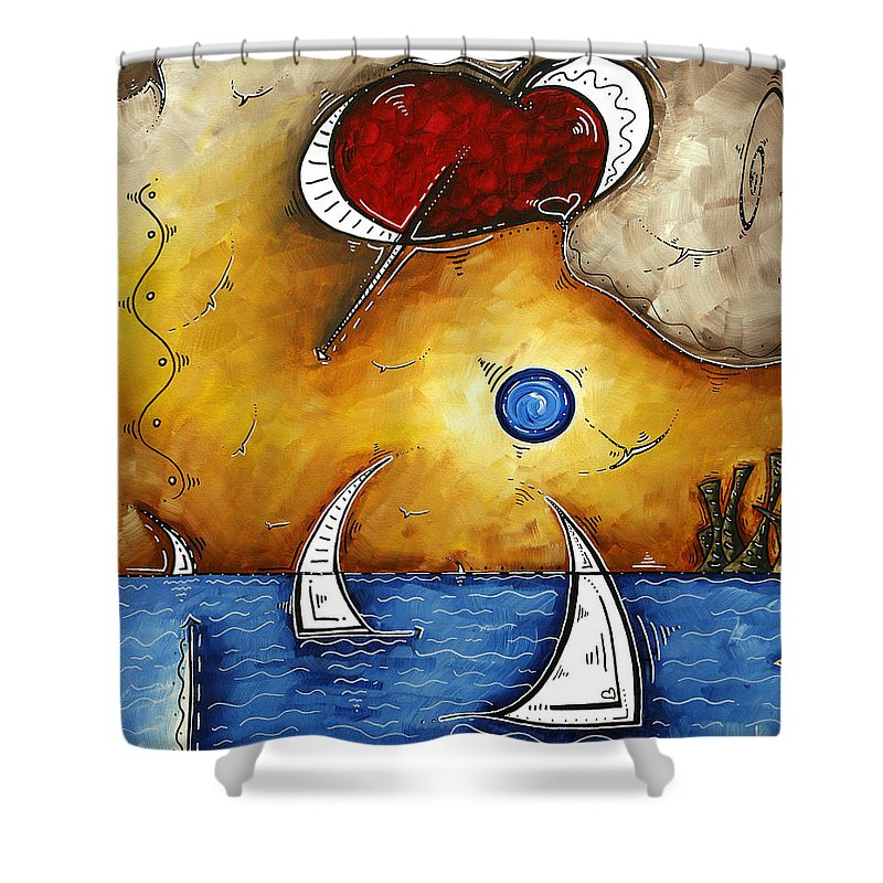 Abstract Shower Curtain featuring the painting Abstract Art Contemporary Coastal Cityscape 3 Of 3 Capturing The Heart Of The City I By Madart by Megan Duncanson