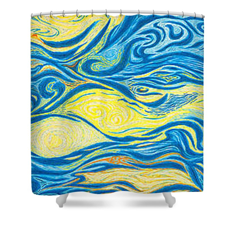 Art Shower Curtain featuring the drawing Abstract Art Good Morning Contemporary Modern Artwork Giclee Fine Art Prints Life Cycle Swirls Water by Baslee Troutman