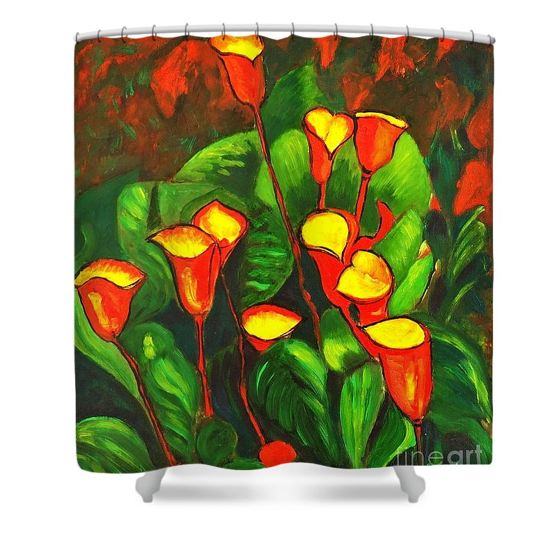 Arum Lily Shower Curtain featuring the painting Abstract Arum Lilies by Caroline Street