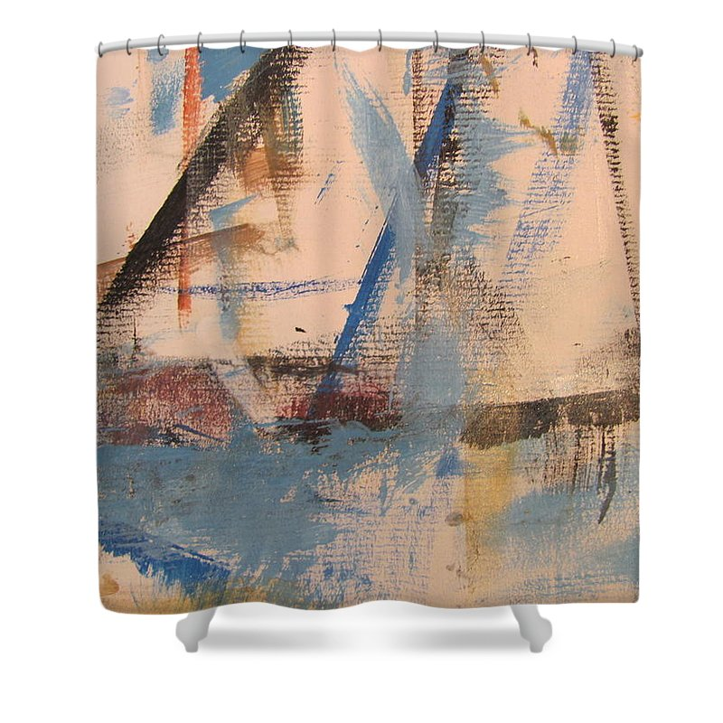 Abstract Shower Curtain featuring the painting Abstract At Sea 1 by Anita Burgermeister