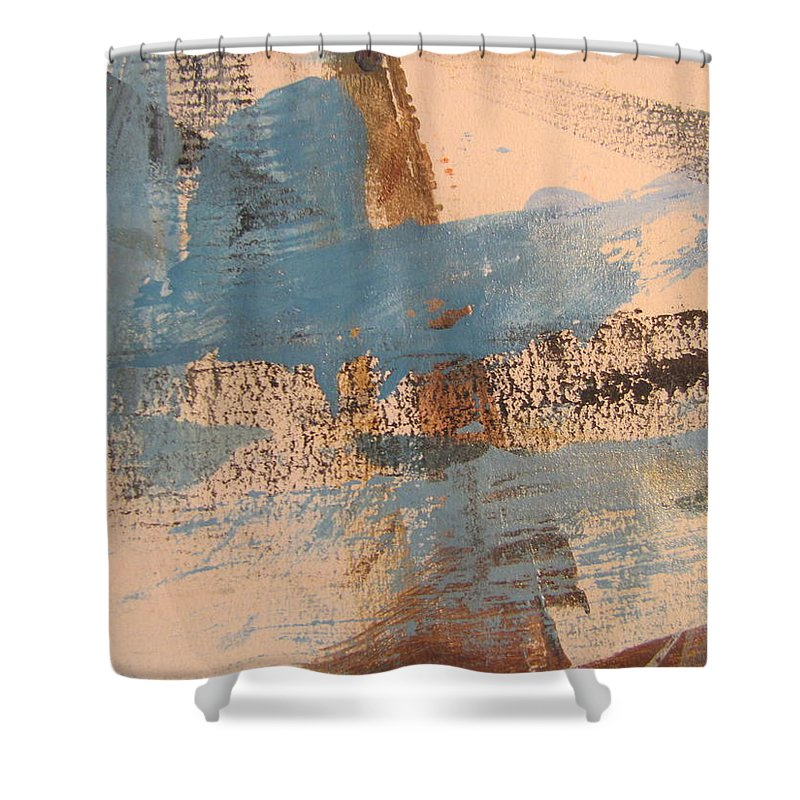 Abstract Shower Curtain featuring the painting Abstract At Sea 4 by Anita Burgermeister