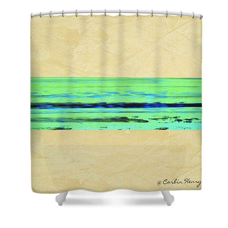 Beach Shower Curtain featuring the mixed media Abstract Beach Landscape by Corbin Henry