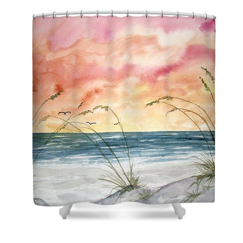 Abstract Shower Curtain featuring the painting Abstract Beach Painting by Derek Mccrea