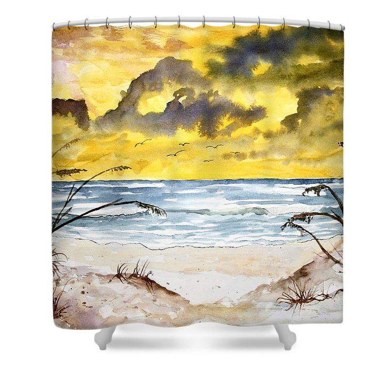 Beach Shower Curtain featuring the painting Abstract Beach Sand Dunes by Derek Mccrea