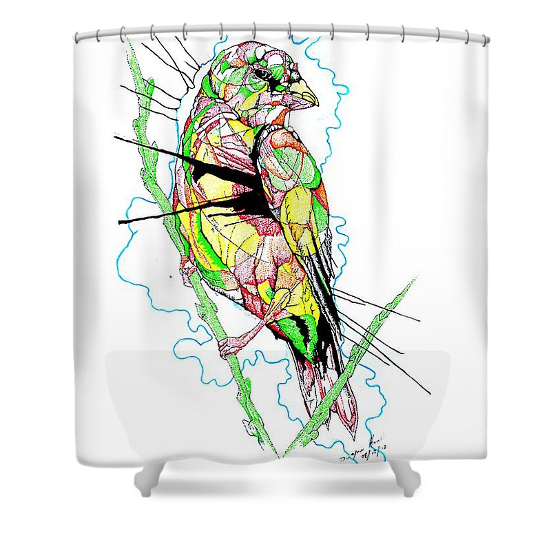 Birds Shower Curtain featuring the mixed media Abstract Bird 01 by Dwayne Hamilton